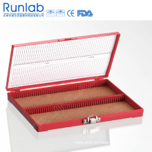 Caja de almacenamiento de diapositivas de microscopio de 100 lugares con pin de bisagra