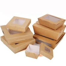 Customized size rectangular takeout paper container biodegradable kraft lunch salad box