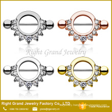 Gold Plated Stainless Steel Prong Setting Cubic Zirconia Nipple Ring