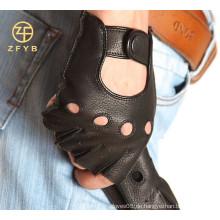 Hochwertige handgemachte Motorrad fingerless Männer deerskin Lederhandschuhe