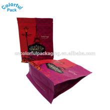 Saco de pacote de grãos de café impressos personalizados para venda bolsa de café de folha de mylar resealable fundo plano bolsa