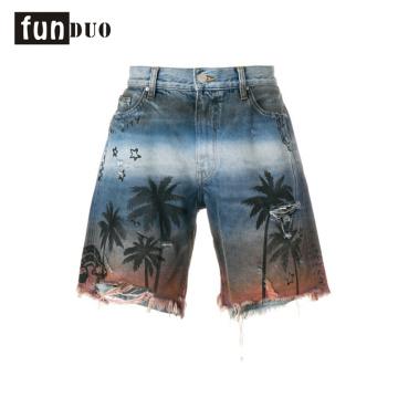 2018 custom printed denim jeans men shorts printed appeal 2018 men printed shorts casual fashion shorts new design appeal