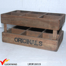 Stackable Handmade Vintage Wood Planter Nice Box with Handle