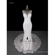 2017 Spitze zurück Hochzeitskleid Kathedrale Zug schiere Straps Brautkleid