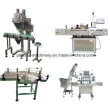 Línea de producción de sellado y sellado de botellas de polvo