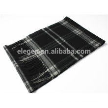 Hombres 100% cachemira hilo teñido bufanda con franja