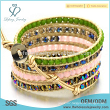 Bohemia leather beaded wrap bracelets,cheap bohemian jewelry