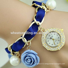 Excellent lady braided rose pendant diamond watch