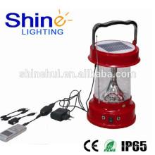 IP65 aprobado impermeable solor linterna para camping linterna con cargador de teléfono celular