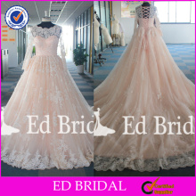 ED Bridal Real Pictures Factory Custom Made Long Sleeve Ball Gown Wedding Dresses 2017 With Long Train