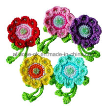 Village Vintage Hand Crochet Flower Applique with Rhinestone Beads Leaves