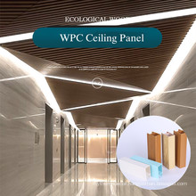 Hot sale 100x25mm indoor modern strip wood plastic Ceiling by green building material