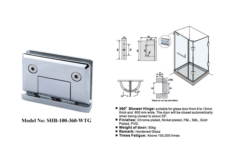 Brass Frameless Shower Door Hinges 360 Degree B