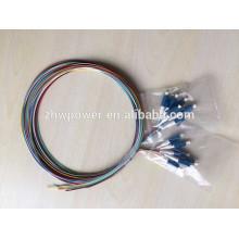 Cabo de ramificação LC cabo de remendo de fibra óptica de saída de ventilação 12 pigtails de núcleo LC