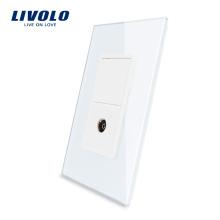 Livolo Prise de télévision américaine avec prise de courant murale en verre de cristal et perle blanche 220V VL-C591V-11