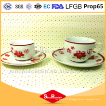 fda approved Porcelain cup and saucer Coffee Set with flower print