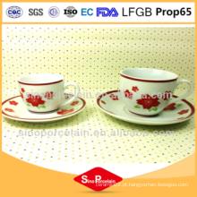 Fda aprovado copo de porcelana e pires Coffee Set com impressão de flores