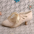 Mais vendidos Lace Up Nupcial Shoes Nude