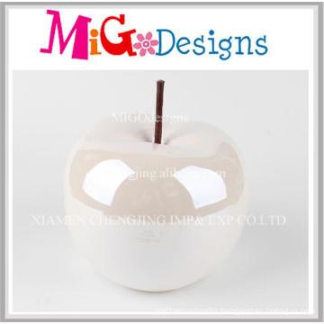 New Arrived Discount Ceramic White Apple Piggy Bank