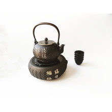Enamel Cast Iron Tea Kettle Water Pot with Cup