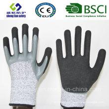 13G Hppe/Glass Fiber Liner Double Dipped Sandy Nitrile Coating Safety Gloves