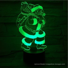 touch Santa 3D colorful Christmas man gift table lamp visual color illusion night light