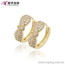 Los productos más nuevos de la moda 14k Gold-Plated Charming Crystal Bowknot Hoop Earring para mujeres-90166