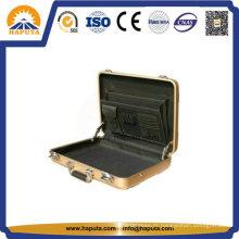 Maleta de alumínio dourado médio com bolsos (HL-5205)