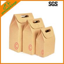 Bolsa de regalo de papel kraft con mango troquelado y minorista