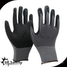SRSAFETY 13g sandy finish nitrile coated glove/working gloves/safety gloves