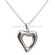 Alloy Charm Pendant Hollow Silver Plated Best Friend Heart Necklace