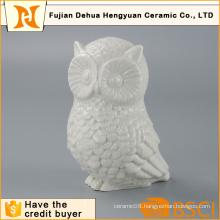 Glazed White Owl Shape Ceramic Animal Figure for Home Decoration