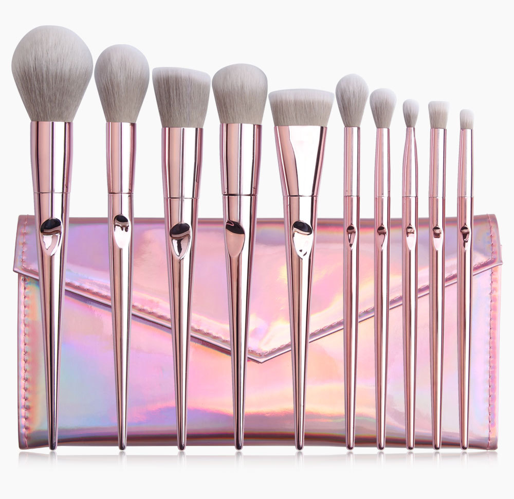 10 Piece Rose Gold Makeup Brushes Set 4