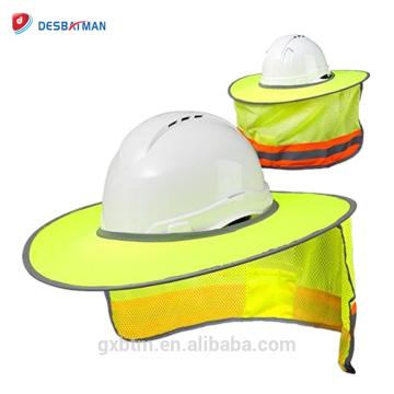 Hola Viz Mesh Helmet Sunshield Protector de alta visibilidad Reflective Full Brim Hard Hat Sun Shade para trabajos al aire libre