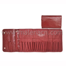 Red Leather Cosmetic Pouch Makeup Bag