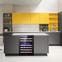 Armario de madera para cocina con estante y refrigerador para vinos