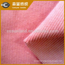 knit cotton spandex french 2*2 rib fabric for clothing