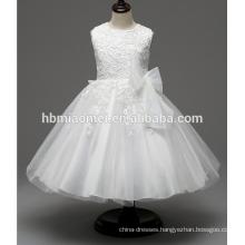 2017 new fashion Child Girls Babies Plain White Baptism Dresses baby with big bowtie