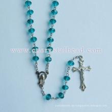 Meer-Blau rund facettiert geschliffenem Glas Perlen Rosenkranz