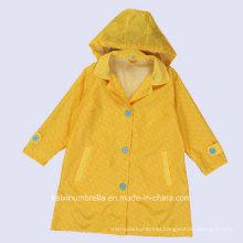 PU Coated Long Nylon Yellow Color Raincoat
