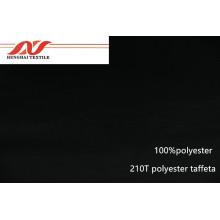 Black 100% polyester 210T polyester taffeta