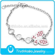 Pulsera pulsera de mariposa con diamante rojo para niñas en venta caliente