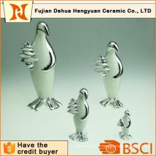 Plating artesanato de pinguim de cerâmica para decoração do lar