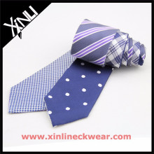 Dog Tooth and White Dots Double Sides Cheap Mens hermosos lazos de seda