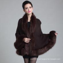 Senhora fashion paisley jacquard acrílico de malha xale de inverno de pele (yky4461)