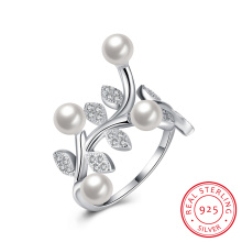 Birnen-und Blumen-Form reiner silberner Ring 925 Sterlingsilber-Frauen-Schmucksachen