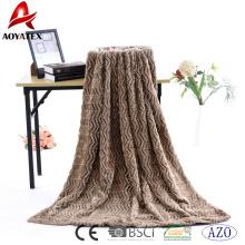 100% polyester zigzag plush luxury faux fur fabric pv fleece blanket