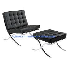 Cadeira de sofá de couro em Barcelona com otomano (F66)