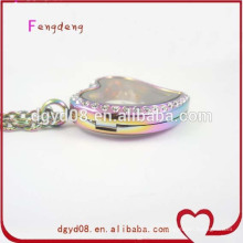 Stainless steel memory heart rainbow jewelry necklace