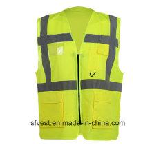 EN20471 Gilet de sécurité de vêtements de travail haute visibilité standard avec poche